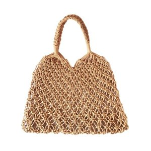 Beach Woven Bag Mesh Rope Weaving Tie Buckle Reticulate Hollow Straw Bag No Lined Net Shoulder Bag BEA53