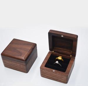 Caixa de jóias Creative de madeira anel de madeira caixa de armazenamento de pingente caixa de armazenamento preto canto de nogueira caixas de madeira maciça yl297