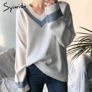 suéter de las mujeres syiwidii otoño invierno V jerséis de cuello suéteres mosaico linda ropa suelta harajuku para las mujeres blancas negras 2020