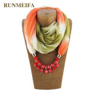 RUNMEIFA Marca Moda Chiffon Scarf com poliéster pendente para Mulheres Anel Colar Scarf Femme Acessórios elegantes