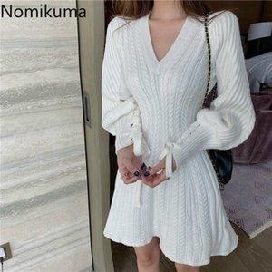 Nomikuma Puff Sleeve линия Мини платье сплошной цвет V шеи тонкая талия Вязаные платья женщин Осень Новые Сладкая Robe Femme 3d304