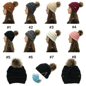 DHL 16style Criss Cross Pom Pom Beanies Women Girl Winter Knitted Hats Outdoor Ponytail Beanie Detachable Pompom Hat Knit Cross Cap CPA3304