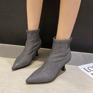 Parlak Pullu Bilek Boots Kadınlar Glitter Yüksek topuk Kısa Çizme Kadınlar Partisi Elbise Köpüklü Seksi Stiletto topuk Sivri Burun
