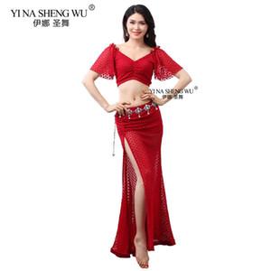 Nouveau Femmes de danse du ventre costume sexy dentelle Top Big Swing Jupe Costume de danse orientale Vêtements pratique Accessoires Waistchain Dancewear