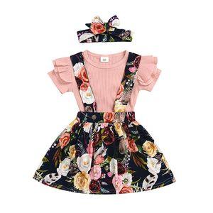 2020 New Girls Overalls Outfits 3Pcs Baby Toddler Kids Floral Skirt suspender skirt Dress+Flower Headband+Ruffles Pure color short sleeve s
