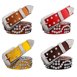 2020 Fashion Genuine leather belts for women Unisex Designer luxury rhinestone Pin buckle belt men High quality second layer cowskin