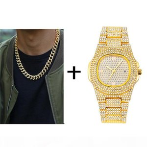 Gold Necklace +Watch+Bracelet Hip Hop Miami Curb Cuban Chain Gold Iced Out Paved Rhinestones CZ Bling Rapper For Men Jewelry