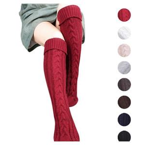 8Colors Knitting Women Long Boot Socks Wool Over Knee Thigh High Warm Stocking Pantyhose Tights Leg Warmers Fashion Socks 2Pcs Pair Rt24Q