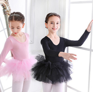 Girls' dance dress one piece ballet skirt long sleeve gauze skirt Tutu children's performance Dress Ballet Dresses