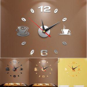 Creative Modern Large 3D DIY Mirror Surface Art Wall Clock Sticker Home Office Room Decor