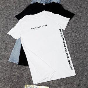 Plus size WONDERFUL DAY Print Long T shirts Summer Women Loose Slit Femme Tops Cotton Tshirt Short sleeve Ladies t shirt