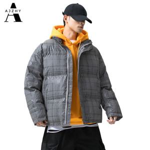Ajzhy 2020 Hommes d'hiver et Coats réfléchissant Hip Hop Streetwear chaud Pardessus coupe-vent Puffer Couple Vestes Parka