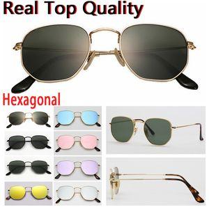 مصمم النظارات الشمسية سداسية الزجاج المسطح العدسات الرجال النساء الذكور الإناث النظارات الشمسية مع حقيبة جلد بني أو أسود، جميع إكسسوارات البيع بالتجزئة!
