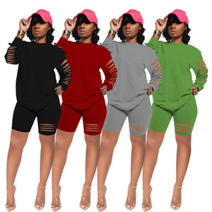 Oversized Tracksuit Women Hole Solid Crew Neck Long Sleeve Loose Short Pants Set Spring Summer Plus Size Clothes Female