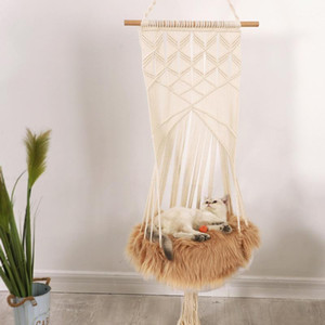 Cat Bed Hand-Woven Hanging Basket Cotton Pet Nest Cat Dog Hammock Thread Toy Swing Bohemian Wall Hanging Macrame Pet Bed1
