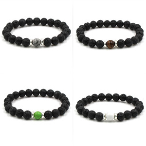 Lava Stone Beads Bracelets Natural Black Essential Oil Diffuser Elastic Bracelet Volcanic Rock Beaded Hand Strings Yoga Chakra 85 L2