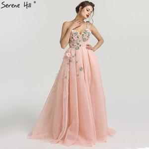 Одно плечо Мода Sexy Newst Вечерние платья Цветы Pearls рукавов Официальные вечерние платья Serene Hill La6512 Y200930