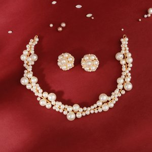 Pearls Bridal Headwear Earrings Hair Forks Jewelry Women Evening Party Hair Jewelry clip Set cheveux H451