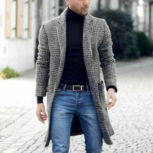 Winter New Fashion Men's Plaid Plus Size Overcoat Male Casual Winter Fashion Gentlemen Long Coat Jacket Outwear high quality1