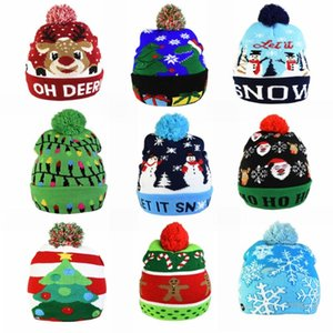 Christmas Hats Beanie Sweater LED Light Knit Hat Christmas Decorations natal Elk Hat Light Up Knitted Cap Gift for Kids 2021