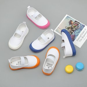 Children's Canvas Shoes Toddler Kids Kindergarten Indoor Shoes Boys Girls Slip-on Elastic White Footwear 201026