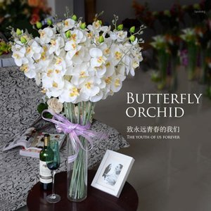 10 teile / los Neue Künstliche Seide Schmetterling Orchidee Blumen Stamm Party Home Tischtisch Schreibtisch Weiß Gelb Rosa Blau Pflanze Für Hochzeit1