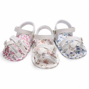 zapatos de cuero de la PU Wonbo bebé primer suave floral Walker suela antideslizantes zapatos de bebé recién nacidos 0-18 meses U5Ri #