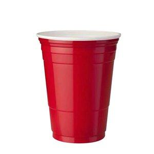 10pcs Set Party Cup Bar Restaurante Suministros de restaurantes Artículos para el hogar para suministros para el hogar 450 ml Taza de plástico desechable roja F WMTPNF