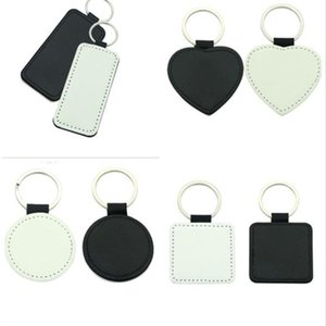 Sublimation Blank Leather Square Shape Keychains Rectangle Heart Round Key Ring Hot Transfer Printing Leather Material 10pcs Lot . .