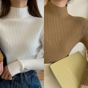 WWPullovers Casual Autunno Inverno Aossviao Donne Manica lunga 2020 Chic TurtleNECK Warm Bas Bas Bas Bas Bambini Toper Top Q
