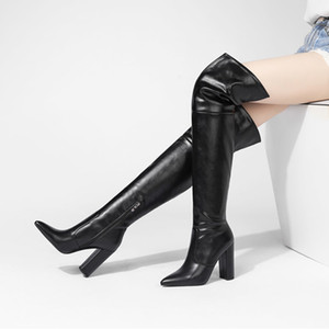 Over The Knee Boots Women Shoes Pointed Toe Thick Heels Long Boots Zip Extreme High Heel Fashion Boots Lady Winter 43