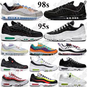 Novos 98s 95s Homens Wome Almofada Correndo Tênis La Mezcla Black Worldwide Pack White Windbreaker Black Oil Grey Sneakers Cone Raptors Treinadores