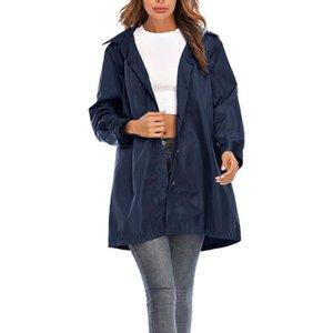 Women Windbreaker Jacket Female Autumn Solid Rain Jacket Outdoor Plus Waterproof Hooded Raincoat Windproof Coats Jackets Famale