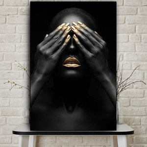 HD Prints Pictures Home Decor 1 pieces Painting Black Hand Gold Lip Nude Woman Canvas Modular Poster For Bedroom Wall Art