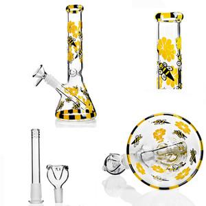 Colorful Glass Bongs 22CM Tall Beaker Base Bong Water Pipes Downstem Perc Bubbler Water Bongs Chicha Hookahs Accessories Dab Rigs 14mm Bowl