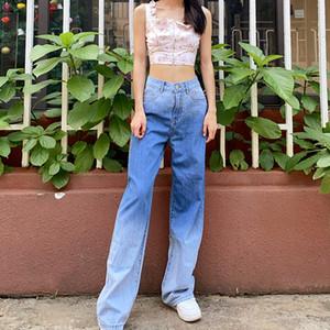 Femmes Nouvelle Arrivée Taille haute Étirement Lâche Jeans Blue Mode Gradient Couleur Femme Jeans Taille S-XL