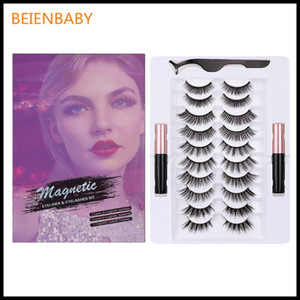 3D Handmake Magnetic Eyelashes 3 5 7 10 Pairs Magnetic Eyelashs set Magnet Liquid Eyeliner Lashes Tweezer Waterproof Lo