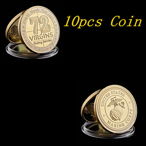10pcs USMC US Army Marine Corps Gold Challenge Coin 72 Virgins Dating Service Collectible Coin Collectible Lot