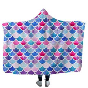 Русалка одеяло детей взрослый зима с капюшоном одеяла рыбы масштабирует плюшевые с капюшоном с капюшоном с капюшоном с капюшоном Шерпа флисовая пленка полотенце на открытом воздухе Travel Cloak GWF4154