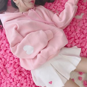 Kawaii Hoodie Long Sleeve Pullover Loose Sweatshirt Pink White Thicken Warm Hoodies Fall 2020 Women Korean Casual Fashion Tops1