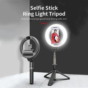 L07 Selfie-Stick mit 5-Zoll-LED-Selfie-Ring-Licht mit Stativ-Stativ-Falten-Tripod-Selfie für Make-up-Live-Stream
