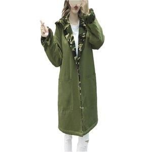 2020 New Winter Womens manga longa com capuz solto médio longo sobretudo de moda camuflagem lã única trincheira coreana trincheira