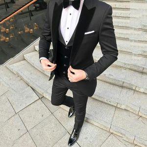 Custom Black Terno Masculino Slim Fit Men Suits Blazers Groom Wedding Tuxedos Peaked Lapel With Velvet Vest Coat Pants 3Piece