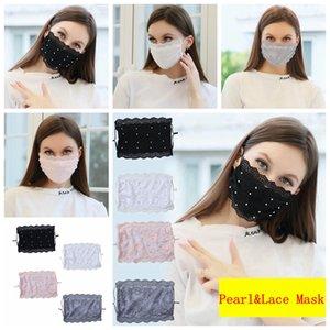 Modedesigner Masken Perlen-Spitze-Gesichtsmaske Verstellbare Schleife Anti-Staub waschbare Gesichtsmaske Wiederverwendbare Ice Silk Maske für Erwachsene 4 Farben RRA3753