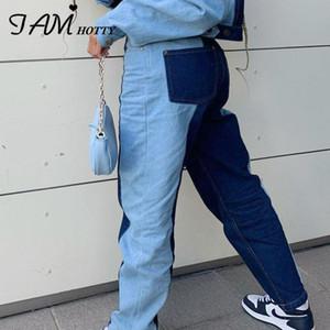 Patchwork holgados pantalones rectos Mom Jeans mujeres de la alta cintura de la vendimia novio de moda de Corea de Calle Harajuku Denim Iamhotty