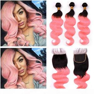 Virgin Péruvien Ombre Rose Human Cheveux Humains Wave Weave Bundles 3PCS et fermeture # 1B Rose Gold Ombre Cheveux Cheveux avec fermeture de dentelle 4x4