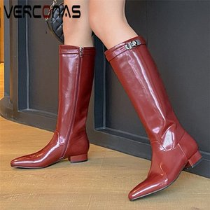 VERCONAS Autumn Winter Women Knee-High Boots Pointed Toe Low Heels Shoes Woman Genuine Leather Metal Decoration Zip Long Boots
