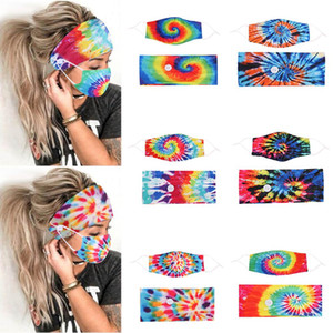 Nova Tie Dye Band Band Máscara De Botão Botão Lanyard Dustproof Anti-Névoa Respirável Antiperspirant Moda Máscaras Para As Mulheres BWA2092
