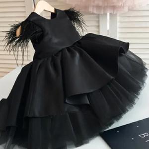 Black Fashion Girls Flowered Dresses for a Wedding Party Dress Formal Reception Baby Clothes Dress Lush Princess Dress