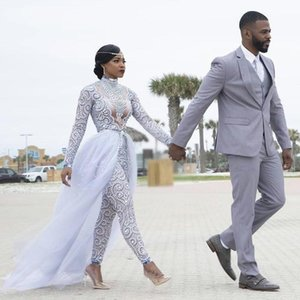 2020 Plus Size Jumpsuits Wedding Dresses With Detachable Train High Neck Long Sleeves African Beaded Wedding Dress Bridal Gowns